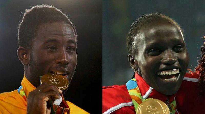 Le taekwondoïste ivoirien Cheick Cissé et l'athlète kenyane Vivian Cheruiyot, médaillés d'or aux JO 2016