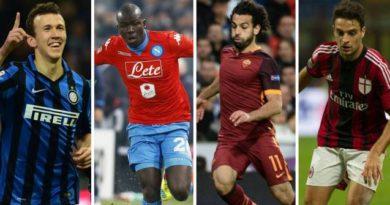 Perisic (Inter), Koulibaly (Naples), Salah (Roma) et Bonaventura (AC Milan)