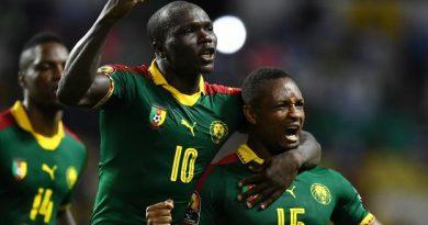 La joie du Camerounais Sébastien Siani, buteur contre la Guinée-Bissau