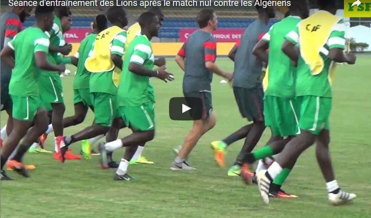 Séance d'entraînement des Lions après le match nul contre les Algériens