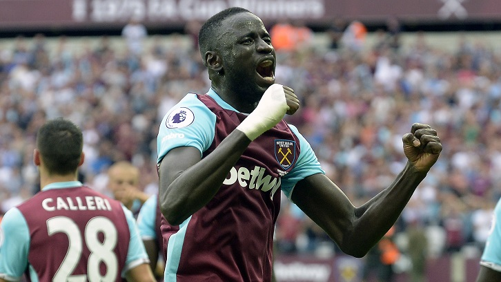 LONDON, ENGLAND - AUGUST 21: Cheikhou Kouyate of West Ham United celebrates the goal during the Premier League match between West Ham United and AFC Bournemouth at London Stadium on August 21, 2016 in London, England. (Photo by James Griffiths/West Ham United via Getty Images)