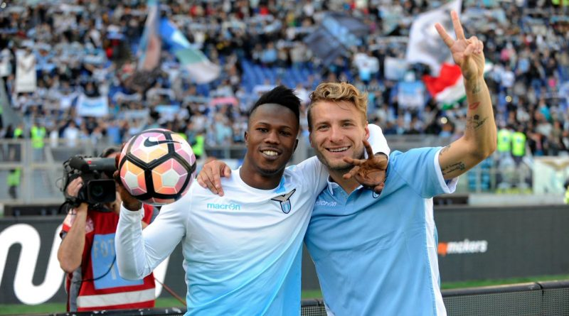 Balde Diao Keita celebrates with Ciro Immobile