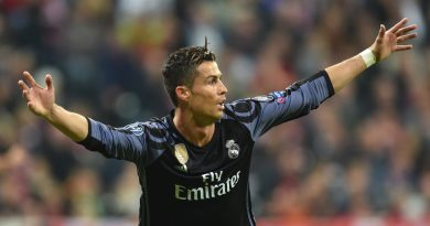 Real Madrid's Portuguese forward Cristiano Ronaldo reacts after scoring during the UEFA Champions League 1st leg quarter-final football match FC Bayern Munich v Real Madrid in Munich, southen Germany on April 12, 2017..Security was ratcheted up in Munich, one day after three explosions rocked the team bus of German football club Borussia Dortmund minutes after the bus set off to a planned Champions League game against Monaco on Tuesday night (April 11, 2017). / AFP PHOTO / Christof Stache        (Photo credit should read CHRISTOF STACHE/AFP/Getty Images)