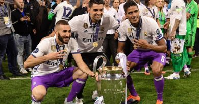 (from L) Real Madrid's Karim Benzema, Enzo Zidane and Raphael Varane pose with the trophy after Real Madrid won the UEFA Champions League final football match between Juventus and Real Madrid at The Principality Stadium in Cardiff, south Wales, on June 3, 2017. / AFP PHOTO / JAVIER SORIANO        (Photo credit should read JAVIER SORIANO/AFP/Getty Images)