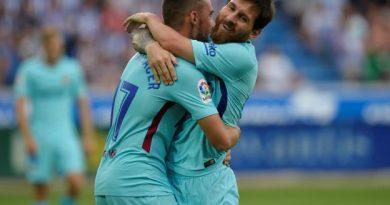 Le sourire de Lionel Messi, auteur d'un doublé