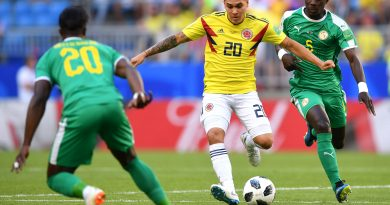 SAMARA, RUSSIA - JUNE 28:  Juan Quintero of Colombia passes the ball under pressure from Idrissa Gana Gueye of Senegal during the 2018 FIFA World Cup Russia group H match between Senegal and Colombia at Samara Arena on June 28, 2018 in Samara, Russia.  (Photo by Stuart Franklin - FIFA/FIFA via Getty Images)