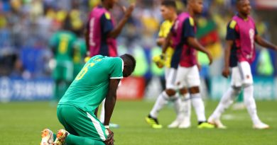 SAMARA, RUSSIA - JUNE 28:  Salif Sane of Senegal looks dejected following his sides defeat in the 2018 FIFA World Cup Russia group H match between Senegal and Colombia at Samara Arena on June 28, 2018 in Samara, Russia.  (Photo by Dean Mouhtaropoulos/Getty Images)