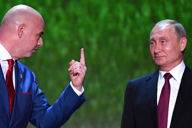Vladimir Poutine en compagnie de Gianni Infantino
