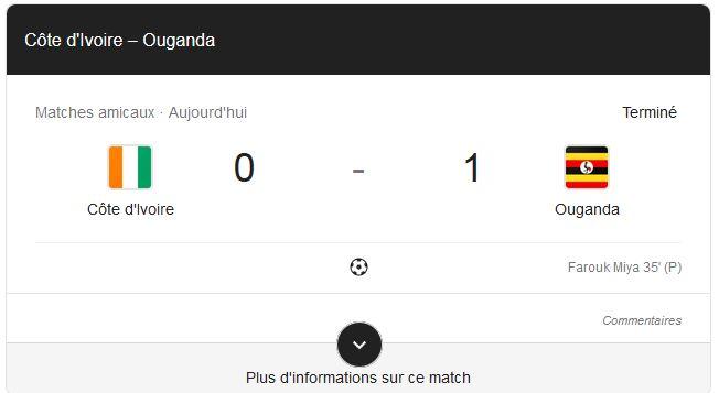 amical ouganda 1-0 cote d'ivoire