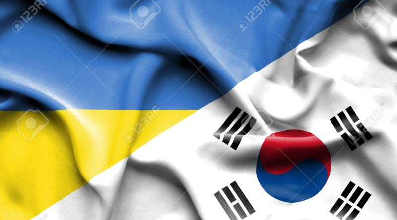 Waving flag of South Korea and Ukraine