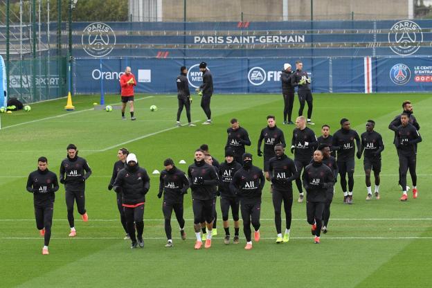 Les joueurs parisiens à l'entraînement
