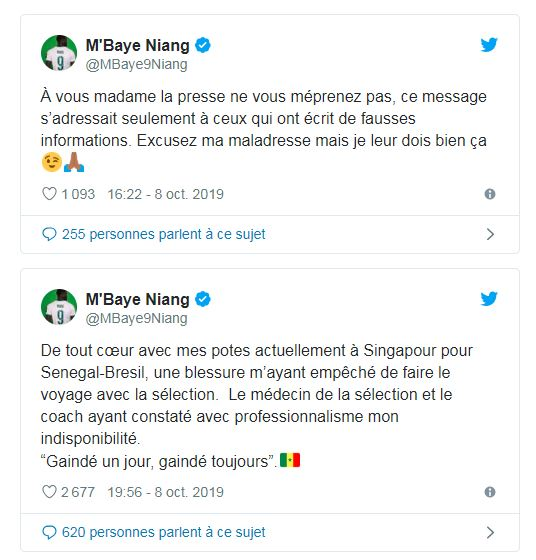 mbaye niang regle ses comptes